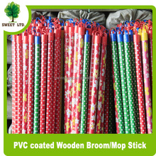 Indoor and outdoor sweeping broom stick PVC coated wooden brush handle