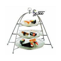 Portable Table Top 3-Tier Stainless Steel Cake Stand/Food Display Stand with Glass Plates