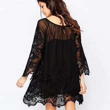 Wholesale black O-neck Lace Plus Size In Stock Ladies Sexy Fat Women Dresses