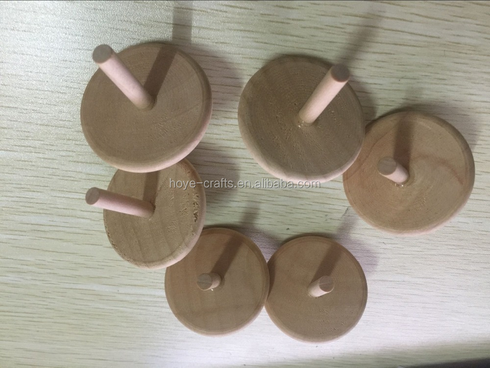 plain wood color classic toy spinning top