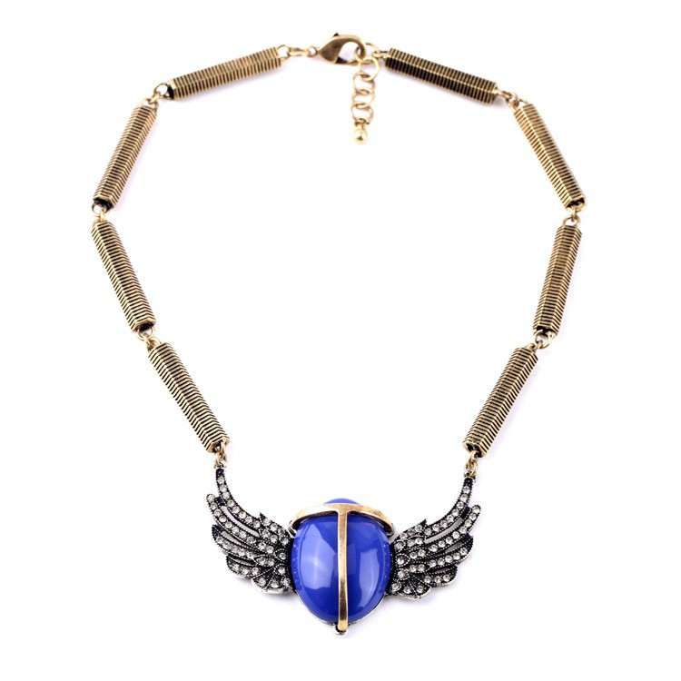 unique handmade chain big blue bead angel wing necklace blue beatle wings necklace high fashion costume necklace