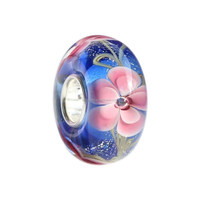 Wholesale Roses in Bloom Against a Perfect Blue Sky Murano Glass Bead with 925 Sterling Silver Tube For European Bracelets