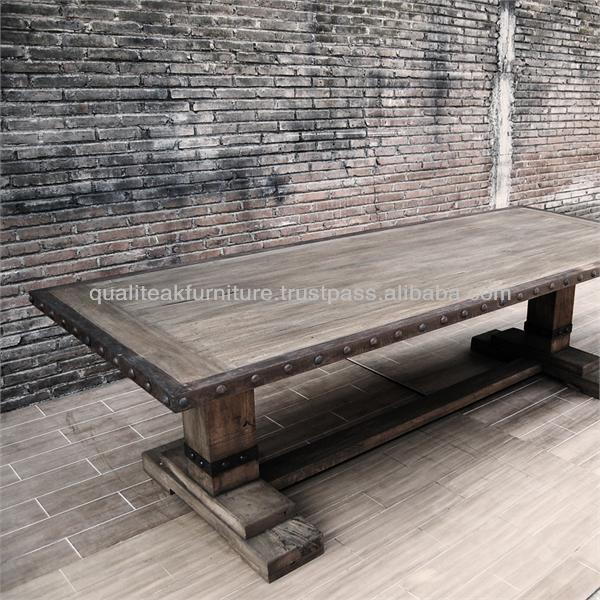 Antique French Country Distress Steel Edge Teak Dining Table