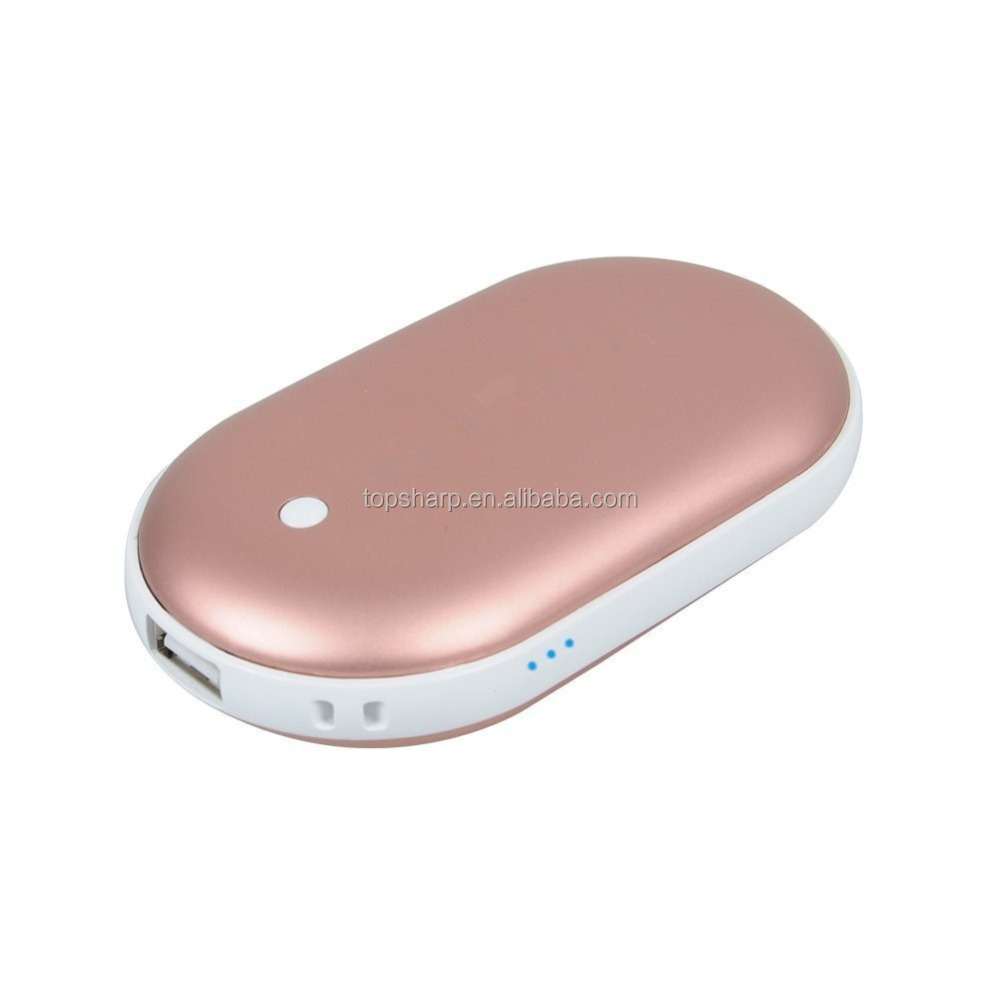Custom 5000MAH USB rechargeable battery power bank hand warmer with flashlight