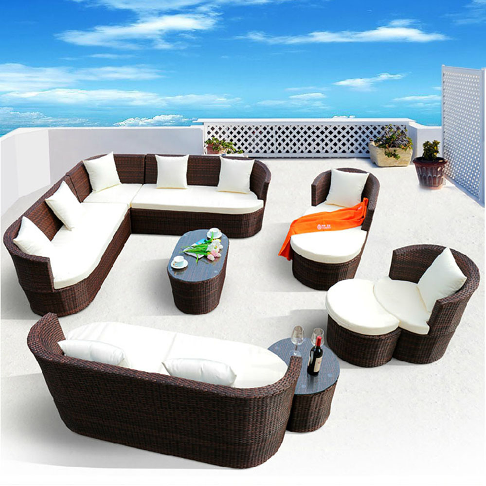 Rust Proof Rattan Outdoor Furniture Brown Color Sofa High Quality Patio Sofa Set Garden Use