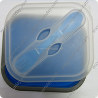 Collapsible silicone cookware japanese box food Square gift silicone lunch box for kids