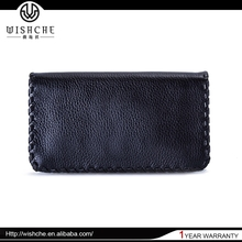 Wishche W0141Cusotm Made Black Genuine Women Leather Wallet Ladies Clutch Purse