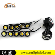 10pcs/set wholesale white and amber turn signal daytime running 3w 12v drl eagle eye lights led (drl) with strobe for car led da