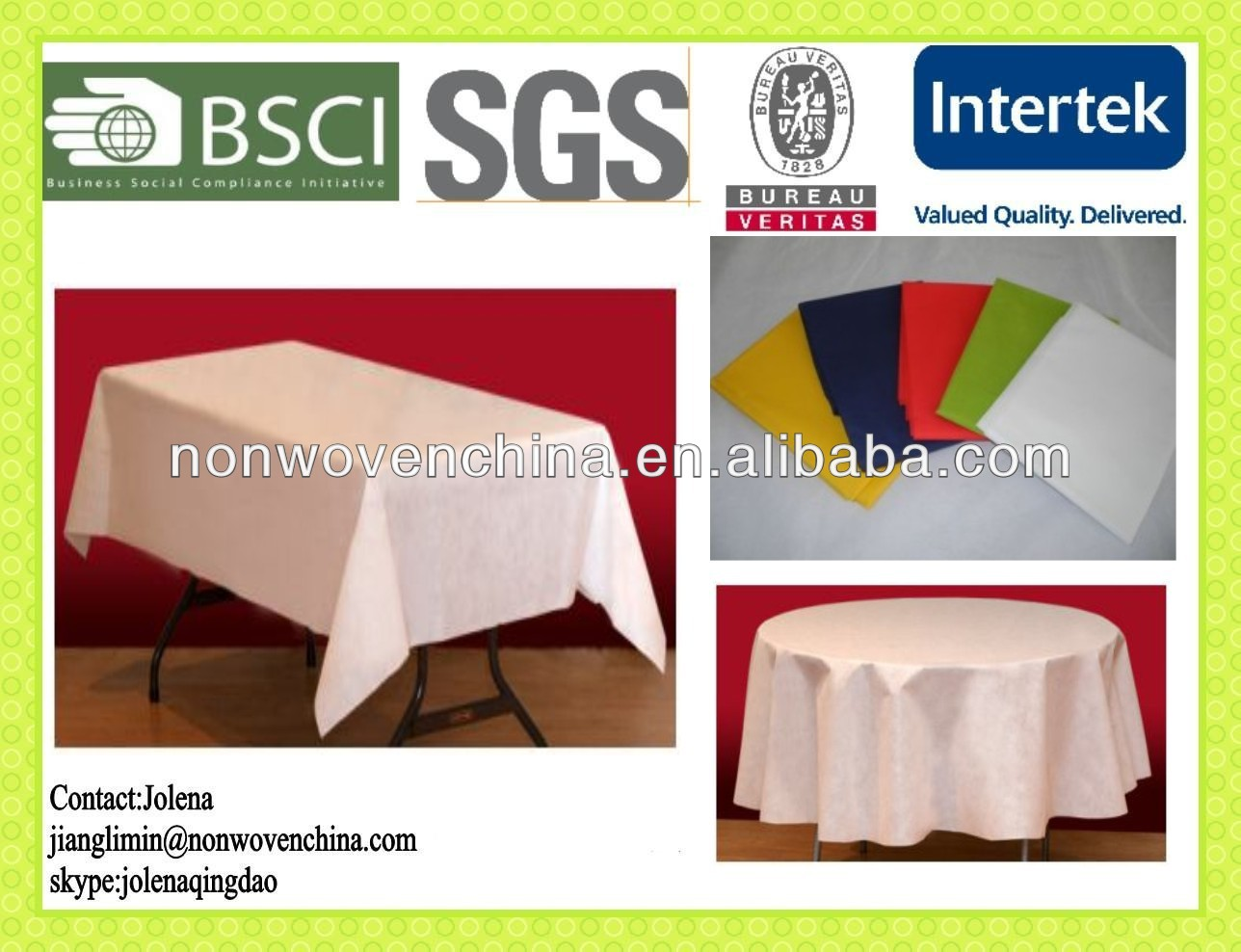 Non Woven Polypropylene Disposable Table Cloth/Table Cover
