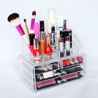 Mother's Day Best Gift 2 Part Clear Acrylic Eyeliner Display Lipsticks Holder Display Mac Cosmetic Display Stand
