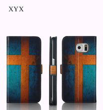 phone accessories OEM&ODM custom Sweden country flag printing leather flip back cover case for nokia lumia 230