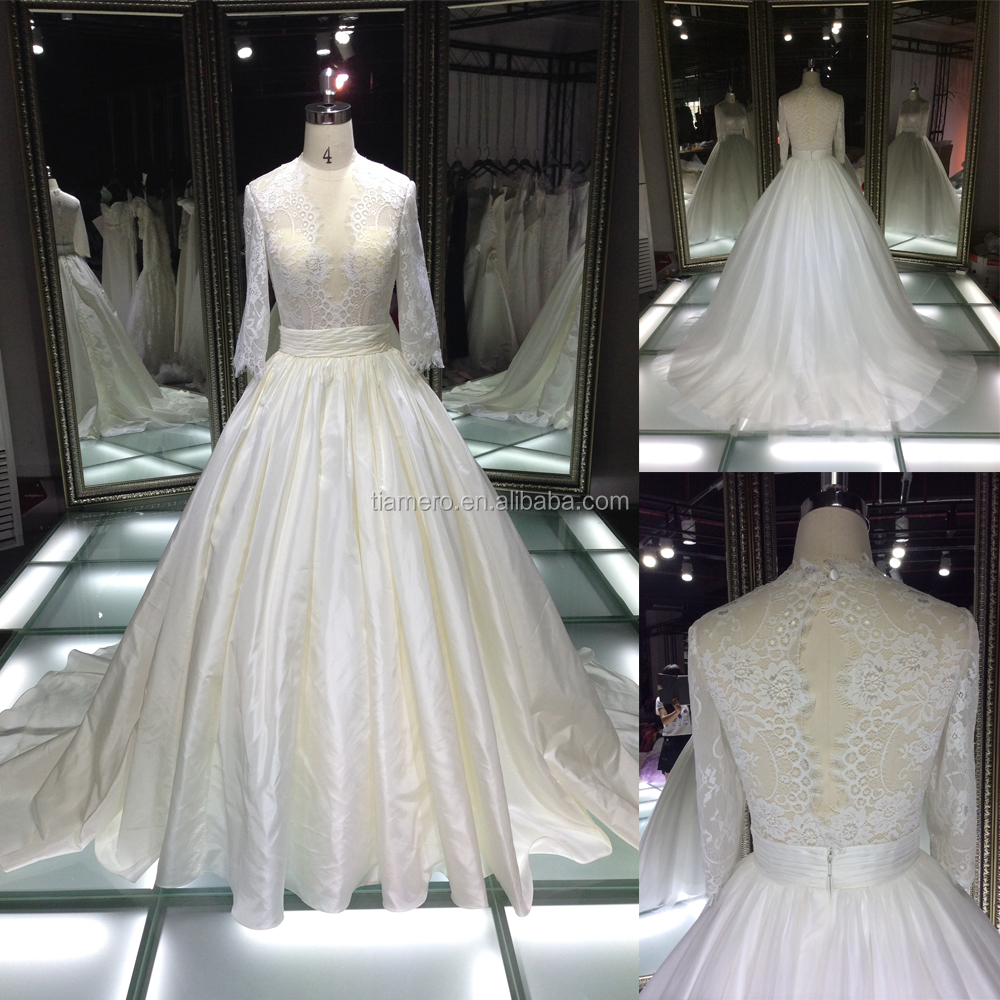 TH-X7612JL 2016 new arrival long sleeve wedding dress plus size wedding dress from muslim bridal wedding dress factory for women
