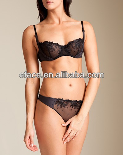 Hot sell High quality embroidered lace lingerie, ladies lace bra and panty set