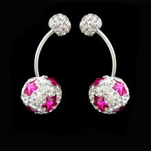 crystal ball belly bar piercing surgical steel belly button rings with pink star crystal