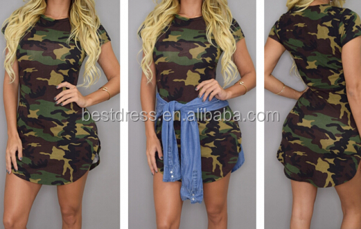 Walson Apparel Ladies Summer Dress Short Sleeve Sexy Mini Dresses women Green Camouflage Printing