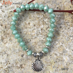 Wholesale mint rondelle glass beads stretch bracelet with alloy scallop charm