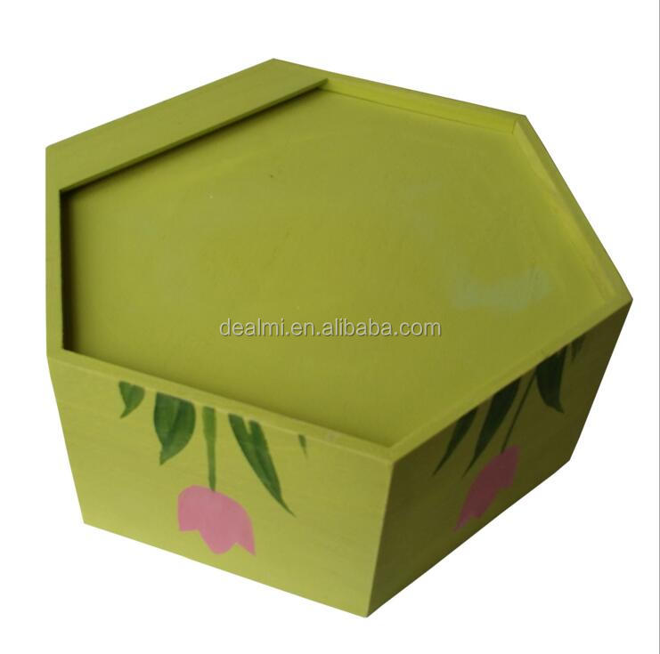 DEMIZXX821 Wholesale Fashion Style Free Shipping Hexagon Shape Without Cover Set Wooden Material Square Storage Boxes