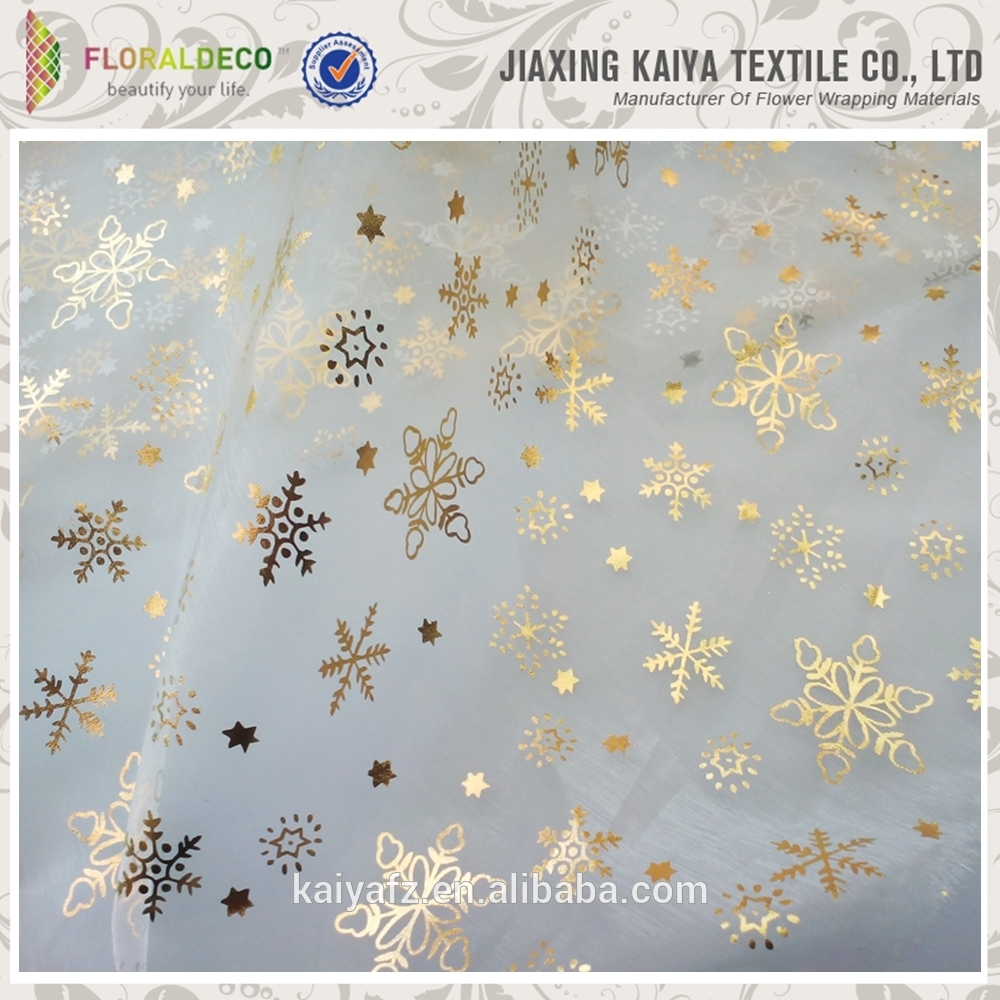 High quality bronzed patterns snowflake organza wrapping fabric