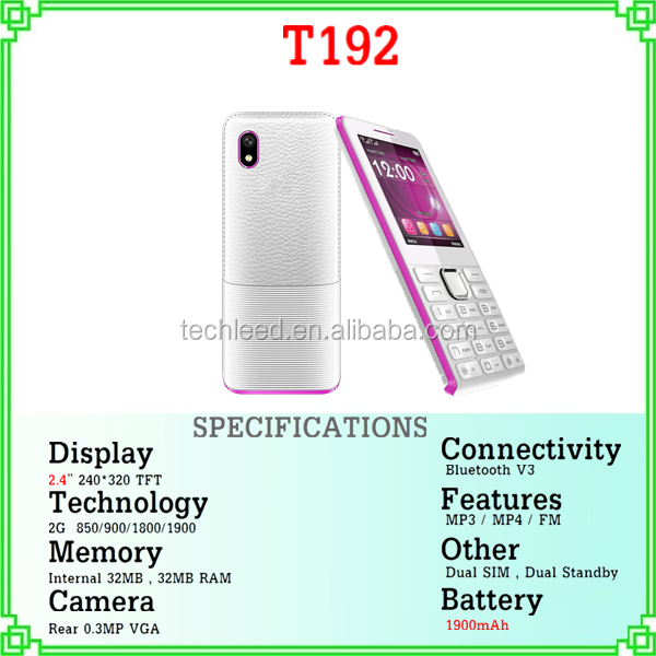 high quality 2.4'' screen T192 dual sim quad band mini torch mobile telefono celular