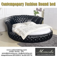 C031 black leather modern bed round shaped low prices