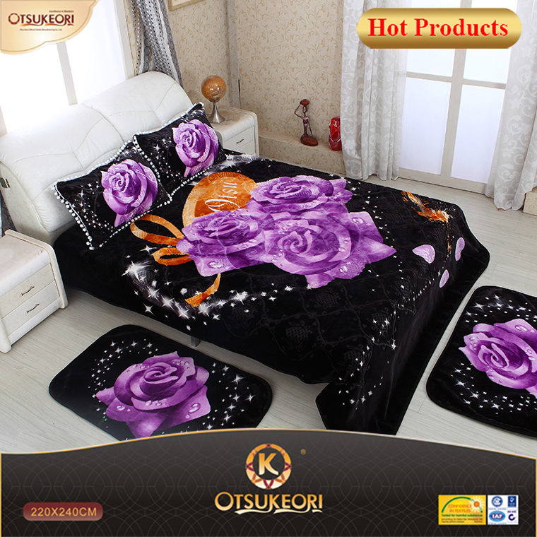 2016 velour queen size and Algeria 5 PC bedding sets with classic design.