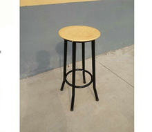 High Quality Wood Top Metal Legs Round Lab Stool Chair