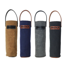 WT001 Wholesale Beer Bottle Holder Waxed Canvas Tote Wine Bag With Handle