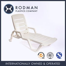 Outdoor furniture rodman SGS 4010 white nestable PP plastic beach sun lounge chair