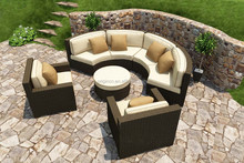 Fancy curved sectional outdoor cane sofa and club chair bellagio wicker garden furniture