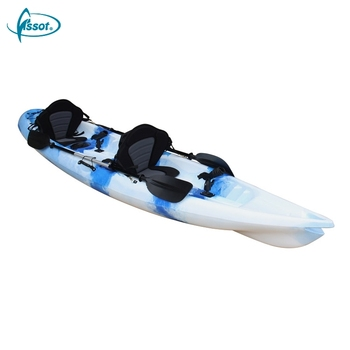 Customized no inflatable 3.9 meters double sit on top kayak with paddle