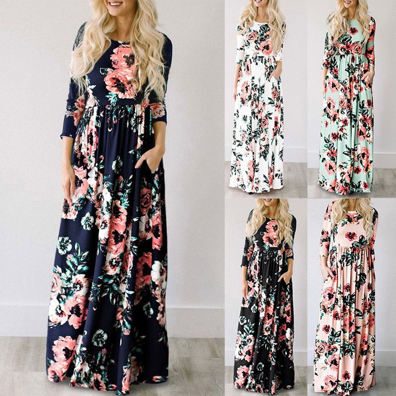 19 Summer Long Dress Floral Print Boho Beach Dress Tunic Maxi Dress Women Evening Party Dress Sundress Vestidos de festa XXXL 7