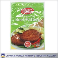 custom printed automatic 3 sides sealed wholesale plastic fozen meat food bag