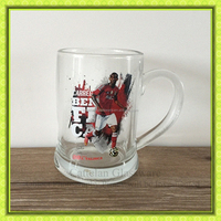 clear football super star printed glass beer stein mug,glass tumbler for water,juice glass bar use