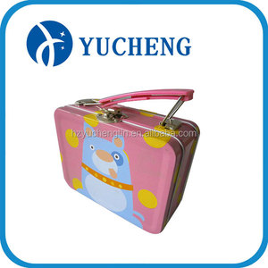 Square pink lunch Crayon Chalk tin box