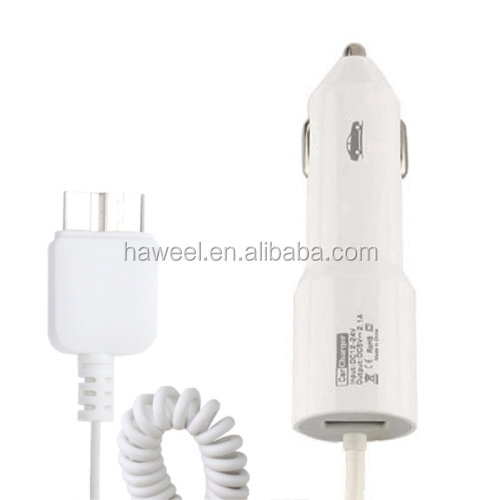 5.1V 2.1A Micro USB Teleson Car Charger Coiled Cable for Samsung Galaxy S5 / for G900 / for Note III / for N9000 (White)