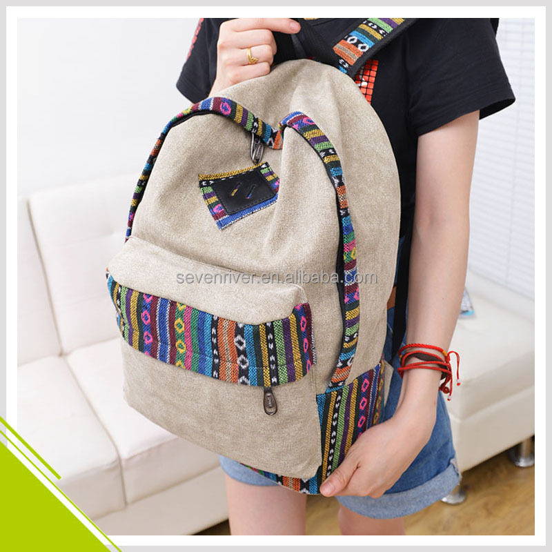 Custom Wholesale New Trendy School Bag Canvas Fashion Backpack