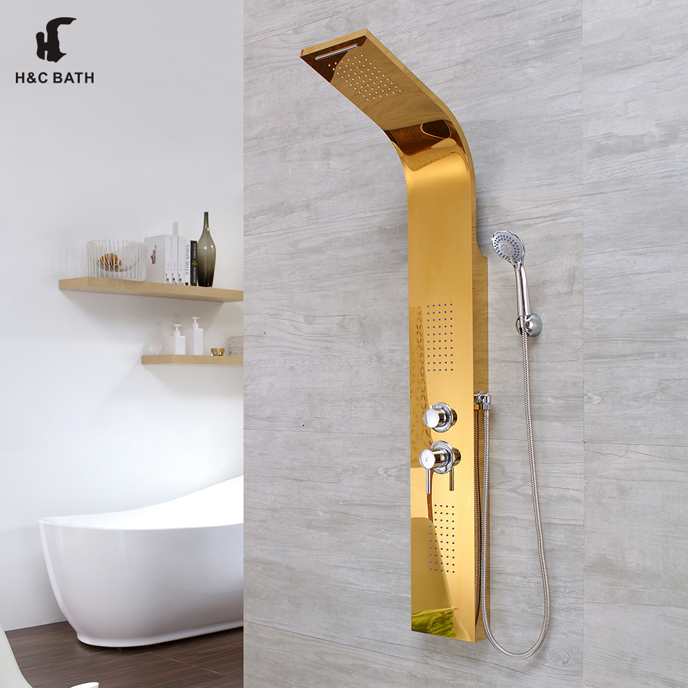 Factory supply 304 Stainless steel golden color sanitary shower with top waterfall