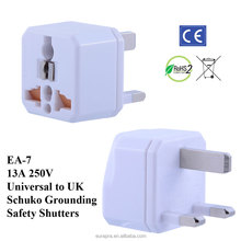 UK Universal Travel Adapter / Plug Adaptor with Schuko Ground and Safety Shutters