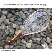 Fly fishing net Fish tail handle with ghost/clear rubber fly landing net