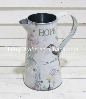 Marks and Spencer! Printed bird metal tin wantering jug for home decor