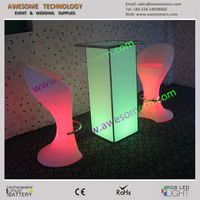 acrylic LED high bar table for cocktail parties