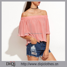 2017 Chic factory price OEM fashion girls Pink Off The Shoulder Ribbed Top