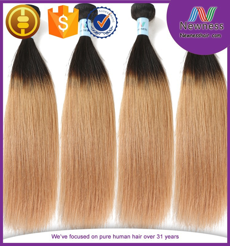colored two tone hair weave remy braiding hair 1b/27 straight hair for black women