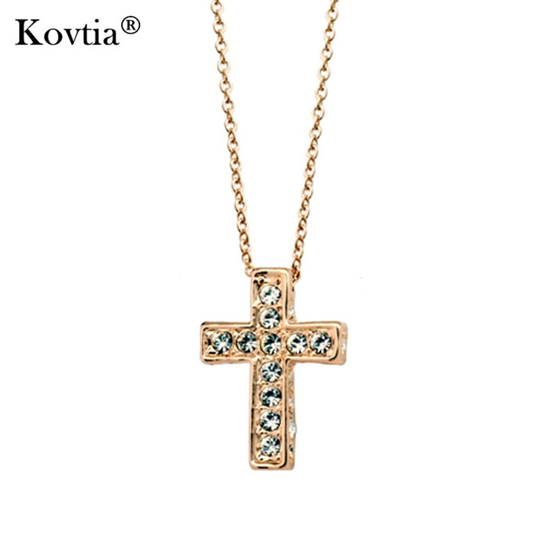 Christian Men Diamond Cross Necklace Yellow Gold Cross Pendant Necklace for Women