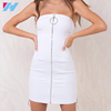 YIHAO 2017 Latest Fashion Dress Design White Plain Elegent Blank Design Backless Front Zip Bodycon Ladies Dresses