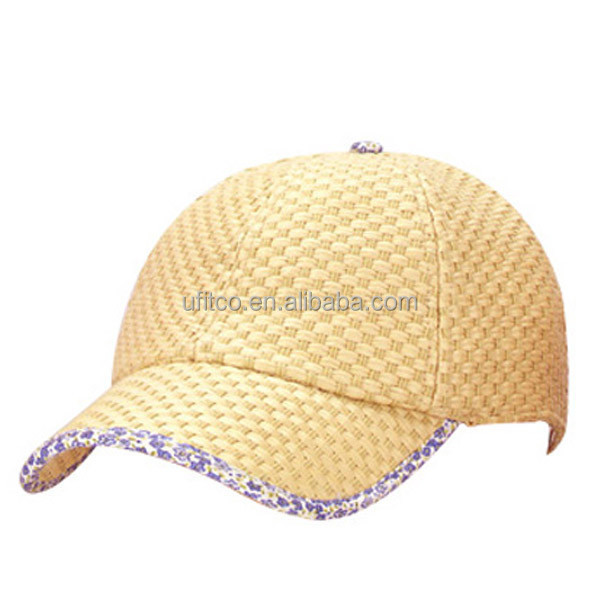 wholesale blank natural straw ball cap
