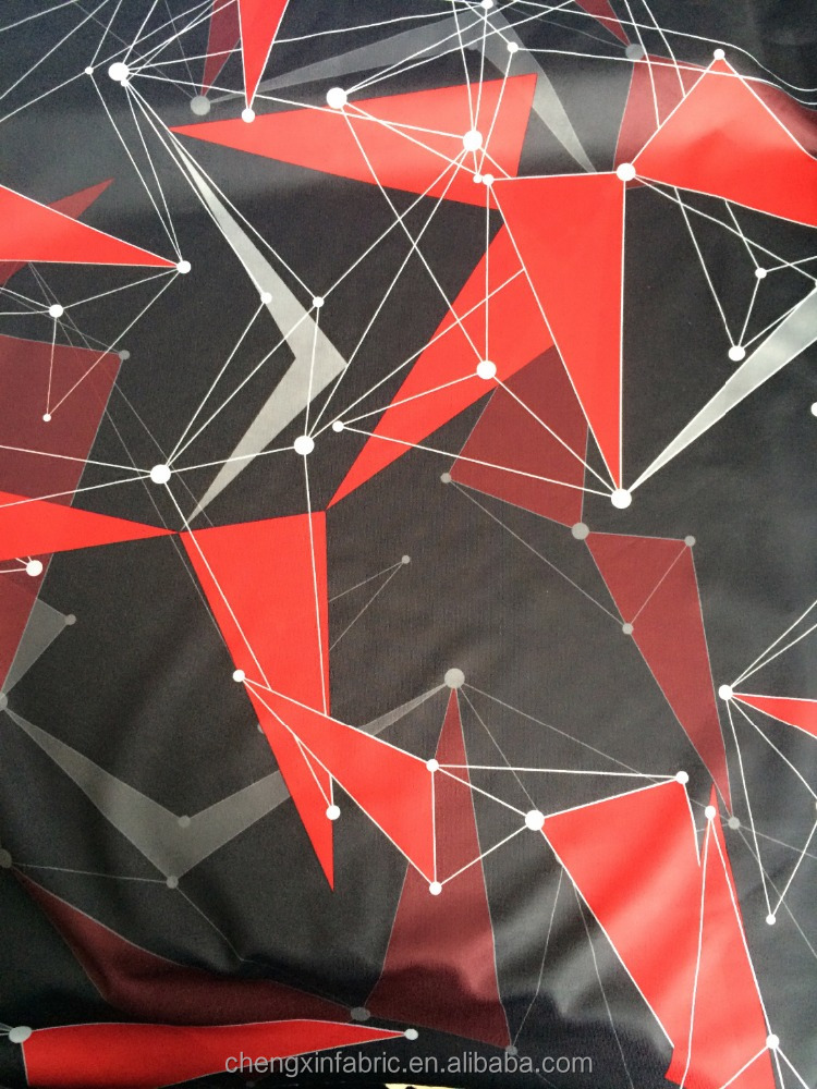 polyester spandex printed jersey fabric for geometry design