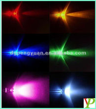 factory price clear led 5mm flat top