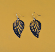 New Fashion Natural Leaf Design Silver Color Iron Earring Pendant Earring