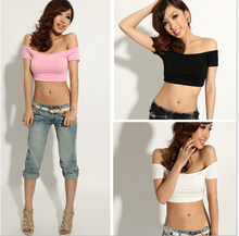 Alibaba China new women appreal crop top short sleeve sexy summer cotton short T-shirt